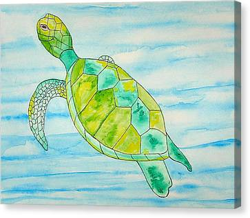 Canvas Print featuring the painting George The Hawaiian Sea Turtle by Erika Swartzkopf