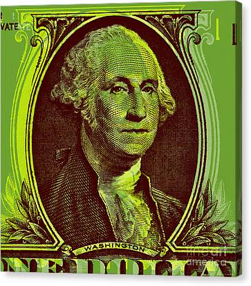 Canvas Print featuring the digital art George Washington - $1 Bill by Jean luc Comperat