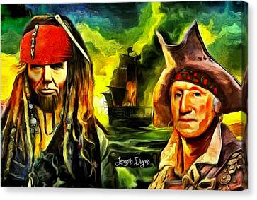 George Washington And Abraham Lincoln The Pirates - Da Canvas Print by Leonardo Digenio