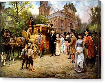 George Washington Arriving At Christ Church Canvas Print by War Is Hell Store