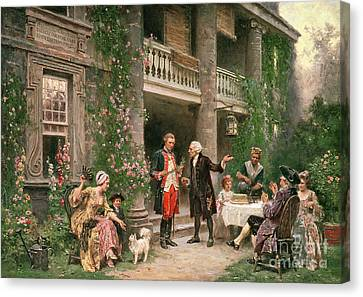 George Washington At Bartrams Garden Canvas Print by Jean Leon Jerome Ferris