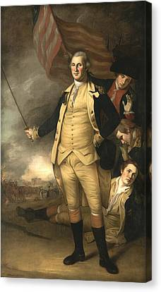 George Washington At The Battle Of Princeton Canvas Print by Charles Willson Peale