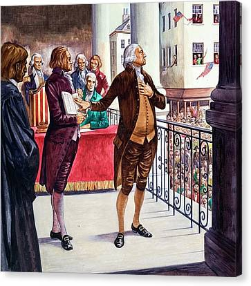 George Washington Being Sworn In As President Of The United States Canvas Print by Peter Jackson