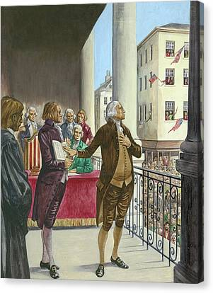 George Washington Being Sworn In As The First President Of America In New York Canvas Print by Peter Jackson