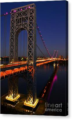 George Washington Bridge At Night Canvas Print by Zawhaus Photography
