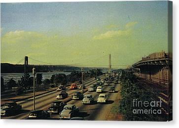 Canvas Print featuring the photograph George Washington Bridge  by Cole Thompson