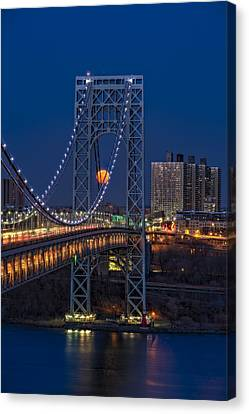 George Washington Bridge Full Moonrise Canvas Print by Susan Candelario