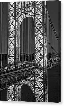 Canvas Print featuring the photograph George Washington Bridge Gwb Bw by Susan Candelario
