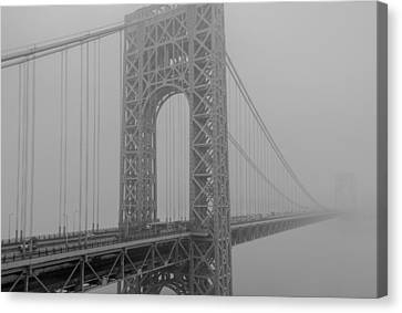 George Washington Bridge In A Thick Fog Canvas Print by Robert Barnes