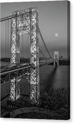Canvas Print featuring the photograph George Washington Bridge Moon Rising Bw by Susan Candelario