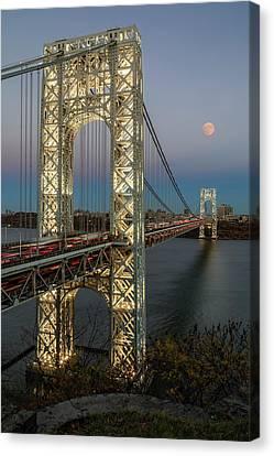 Canvas Print featuring the photograph George Washington Bridge Moon Rising by Susan Candelario