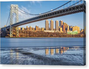 George Washington Bridge Nyc Reflections Canvas Print by Susan Candelario