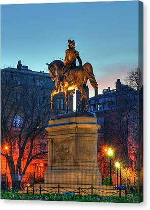 Canvas Print featuring the photograph George Washington Statue In Boston Public Garden by Joann Vitali