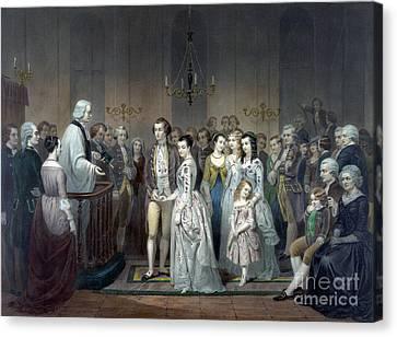 George Washington Weds Martha Custis Canvas Print by Science Source