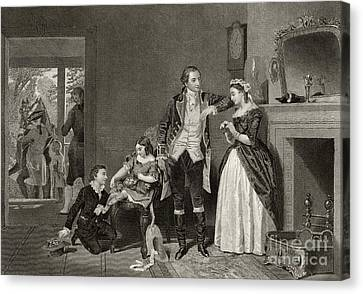 George Washington's First Interview With Mrs Martha Custis Canvas Print by Alonzo Chappel