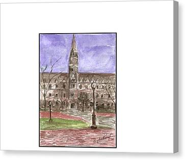 Georgetown University Healy View Canvas Print by Angela Puglisi