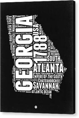 Georgia Black And White Word Cloud Map Canvas Print by Naxart Studio