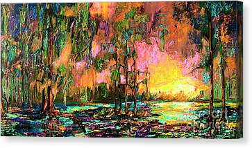 Georgia Landscape Okefenokee Sunset  Canvas Print by Ginette Callaway