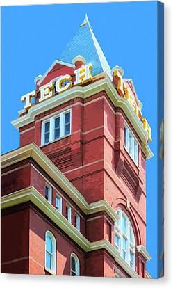 Canvas Print featuring the digital art Georgia Tech Tower by Mark Tisdale