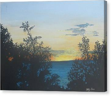 Canvas Print featuring the painting Georgian Bay Sunset by Betty-Anne McDonald