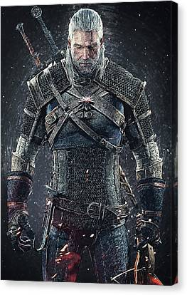 Canvas Print featuring the digital art Geralt Of Rivia - Witcher  by Taylan Apukovska