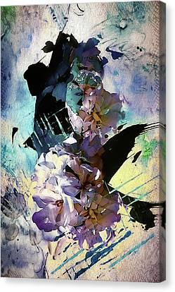 Interior Still Life Canvas Print - Geranium Blues by Rosemary Smith