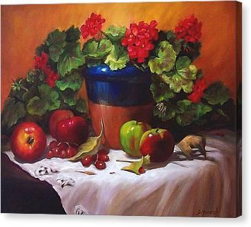 Geraniums And Apples Canvas Print by Donna Munsch