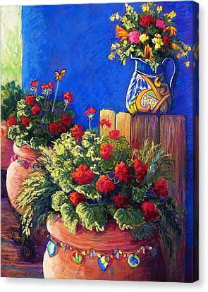 Geranium Canvas Print - Geraniums And Talavera by Candy Mayer
