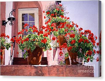 Geraniums At The Top Of Stairs Canvas Print by David Lloyd Glover