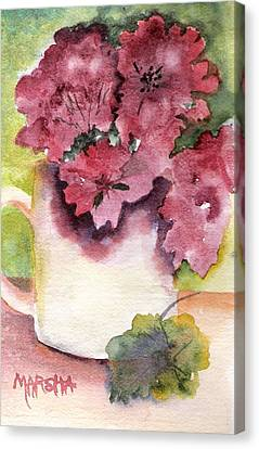 Geraniums In A Cup Canvas Print