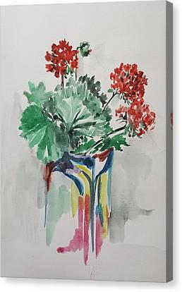 Geraniums In Vase Canvas Print by Rita Fetisov