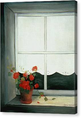 Geraniums In Window Canvas Print by Glenda Barrett