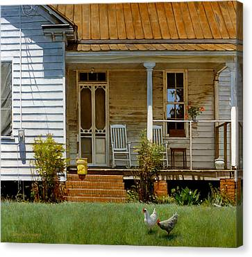 Rooster Canvas Print - Geraniums On A Country Porch by Doug Strickland