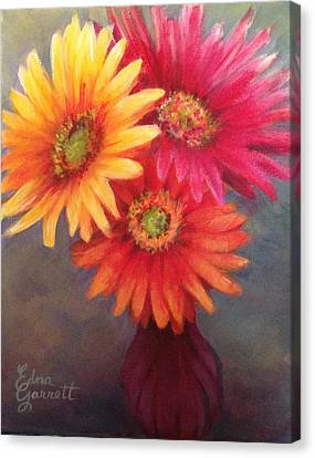 Gerbera Daisies In Purple Vase Canvas Print