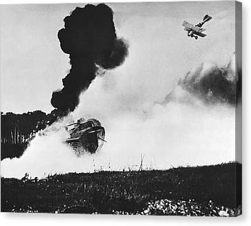 German Biplane Attacks Tank Canvas Print by Underwood Archives
