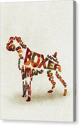 German Boxer Watercolor Painting / Typographic Art Canvas Print