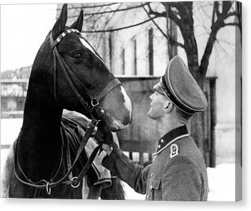 Ww2 Canvas Print - German Elite Soldier With His Horse by Charles Meagher