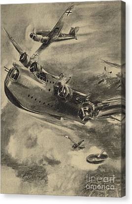 German Fighter Shooting Down A Short Sunderland Flying Boat, World War II  Canvas Print