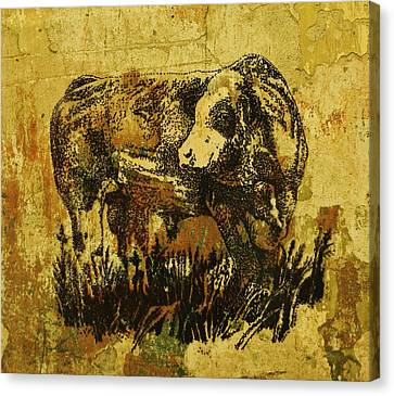 Canvas Print featuring the drawing German Fleckvieh Bull 21 by Larry Campbell