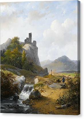 German Landscape With Ruin Canvas Print by Andreas Schelfhout