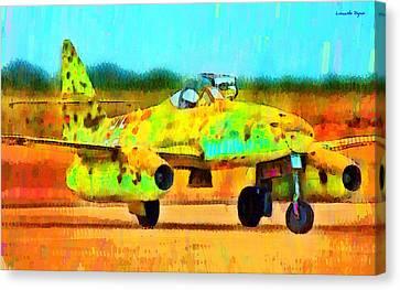 Jet Canvas Print - German Messerschmitt Me 262 Hg 2 - Da by Leonardo Digenio