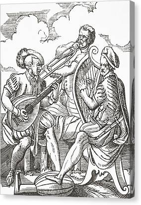 German Musicians Playing The Lute And Canvas Print by Vintage Design Pics