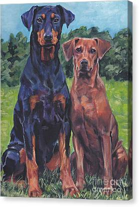 Canvas Print featuring the painting German Pinschers by Lee Ann Shepard