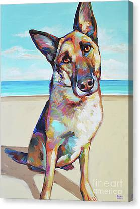 German Shepard On The Beach Canvas Print