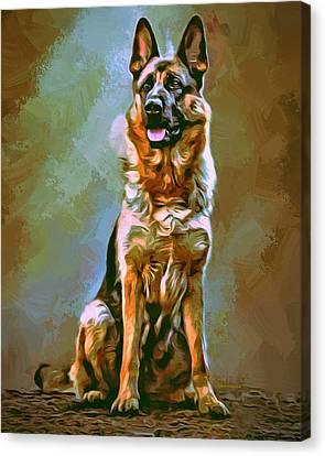German Shepherd Painting Canvas Print