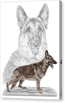 Canvas Print featuring the drawing German Shepherd Art Print - Color Tinted by Kelli Swan