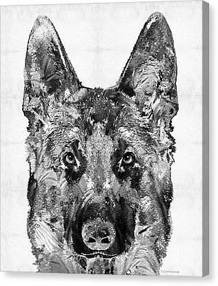 German Shepherd Black And White By Sharon Cummings Canvas Print