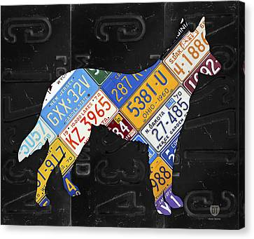 German Shepherd Dog Pet Owner Love Vintage Recycled License Plate Artwork Canvas Print