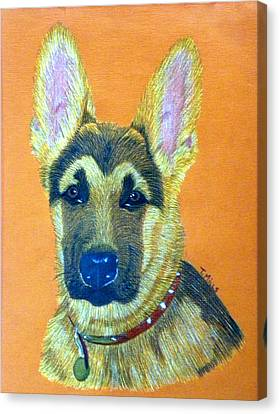 Canvas Print featuring the drawing German Shepherd Dog by Terri Mills