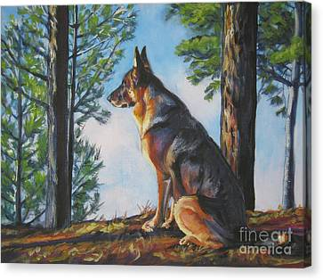 German Shepherd Canvas Print - German Shepherd Lookout by Lee Ann Shepard